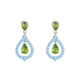 Pear Peridot Platinum Earring with Peridot and Blue Topaz