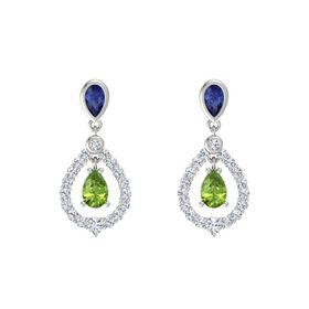 Pear Peridot Platinum Earring with Blue Sapphire and Diamond