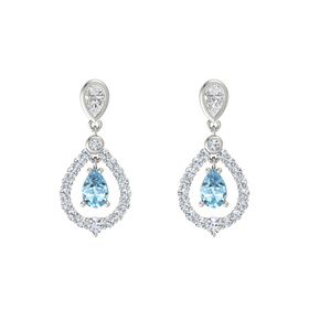 Pear Aquamarine Platinum Earring with White Sapphire and Diamond