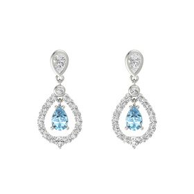 Pear Aquamarine Platinum Earring with White Sapphire