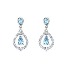 Pear Aquamarine Platinum Earrings with Aquamarine & Diamond
