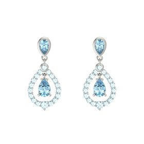 Pear Aquamarine Platinum Earring with Aquamarine
