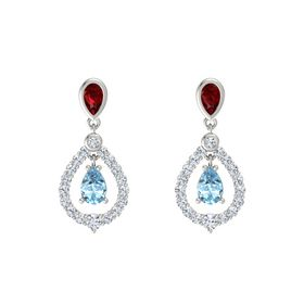 Pear Aquamarine Platinum Earring with Ruby and Diamond