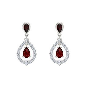 Pear Ruby Platinum Earring with Red Garnet and Diamond