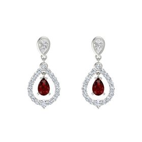 Pear Ruby Platinum Earring with White Sapphire and Diamond