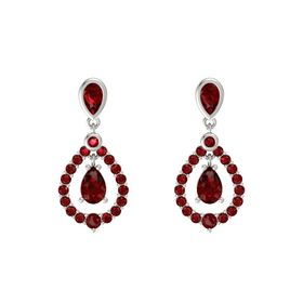 Pear Ruby Platinum Earrings with Ruby