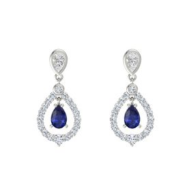 Pear Blue Sapphire Platinum Earring with White Sapphire and Diamond