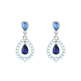 Pear Sapphire Platinum Earrings with Blue Topaz & Aquamarine
