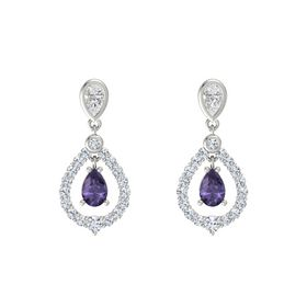 Pear Iolite Platinum Earrings with White Sapphire & Diamond