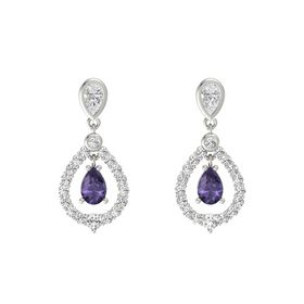 Pear Iolite Platinum Earring with White Sapphire