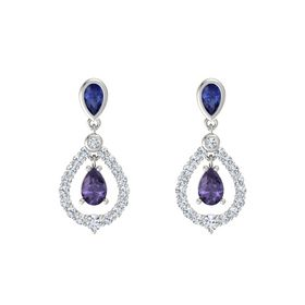 Pear Iolite Platinum Earrings with Sapphire & Diamond