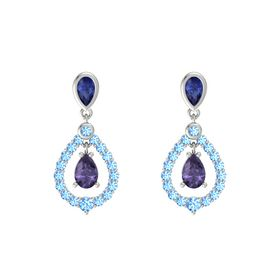 Pear Iolite Platinum Earrings with Sapphire & Blue Topaz