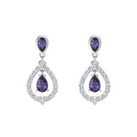 Pear Iolite Platinum Earrings with Iolite & Diamond