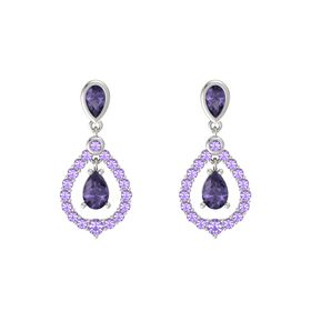 Pear Iolite Platinum Earrings with Iolite