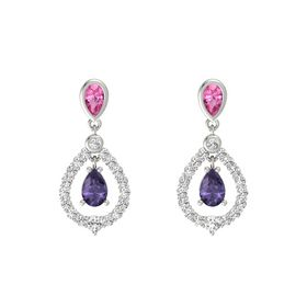 Pear Iolite Platinum Earring with Pink Tourmaline and White Sapphire