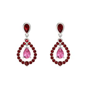 Pear Pink Tourmaline Platinum Earring with Ruby
