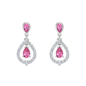 Pear Pink Tourmaline Platinum Earring with Pink Tourmaline and Diamond