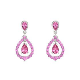 Pear Pink Tourmaline Platinum Earrings with Pink Tourmaline & Pink Sapphire