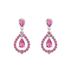 Pear Pink Tourmaline Platinum Earrings with Pink Tourmaline
