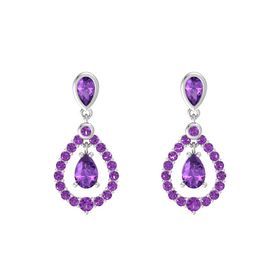 Pear Amethyst Sterling Silver Earring with Amethyst