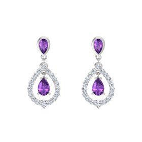 Pear Amethyst Sterling Silver Earrings with Amethyst & Diamond