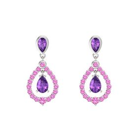 Pear Amethyst Sterling Silver Earrings with Amethyst & Pink Sapphire
