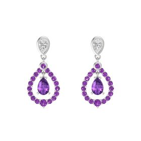 Pear Amethyst Sterling Silver Earring with White Sapphire and Amethyst