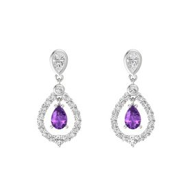 Pear Amethyst Sterling Silver Earring with White Sapphire