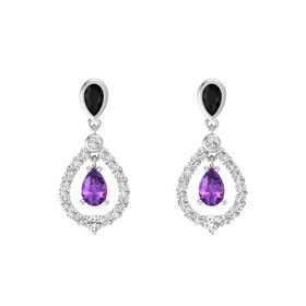 Pear Amethyst Sterling Silver Earring with Black Onyx and White Sapphire
