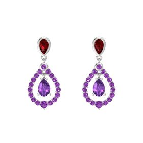 Pear Amethyst Sterling Silver Earring with Ruby and Amethyst