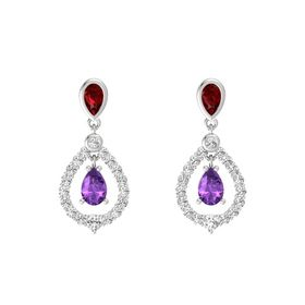 Pear Amethyst Sterling Silver Earrings with Ruby & White Sapphire