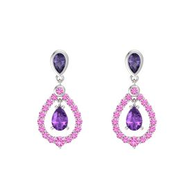 Pear Amethyst Sterling Silver Earrings with Iolite & Pink Sapphire