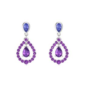 Pear Amethyst Sterling Silver Earring with Tanzanite and Amethyst