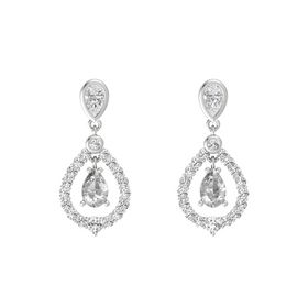 Pear Rock Crystal Sterling Silver Earring with White Sapphire