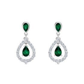 Pear Emerald Sterling Silver Earring with Emerald and Diamond