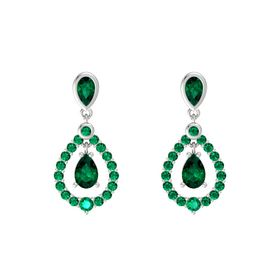 Pear Emerald Sterling Silver Earrings with Emerald