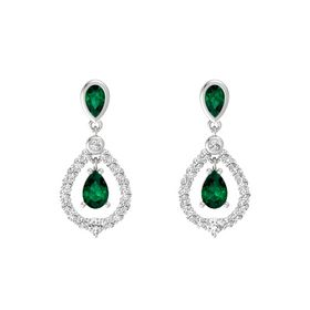 Pear Emerald Sterling Silver Earrings with Emerald & White Sapphire