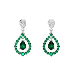 Pear Emerald Sterling Silver Earring with White Sapphire and Emerald