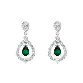 Pear Emerald Sterling Silver Earring with White Sapphire