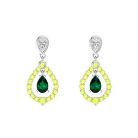 Pear Emerald Sterling Silver Earring with White Sapphire and Peridot