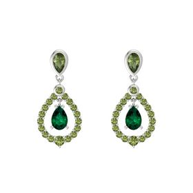 Pear Emerald Sterling Silver Earring with Green Tourmaline