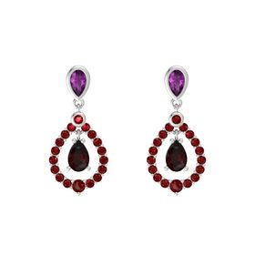 Pear Red Garnet Sterling Silver Earring with Rhodolite Garnet and Ruby