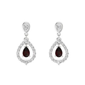 Pear Red Garnet Sterling Silver Earring with White Sapphire