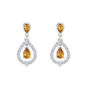Pear Citrine Sterling Silver Earrings with Citrine & Diamond