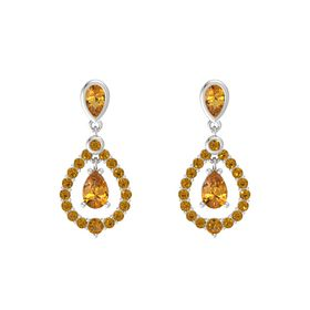 Pear Citrine Sterling Silver Earrings with Citrine