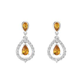 Pear Citrine Sterling Silver Earring with Citrine and White Sapphire