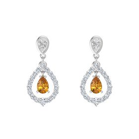 Pear Citrine Sterling Silver Earrings with White Sapphire & Diamond