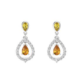 Pear Citrine Sterling Silver Earring with Yellow Sapphire and White Sapphire