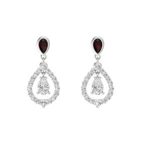 Pear White Sapphire Sterling Silver Earring with Red Garnet and White Sapphire