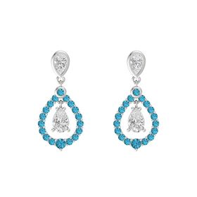 Pear White Sapphire Sterling Silver Earring with White Sapphire and London Blue Topaz